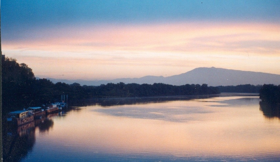 The Rhône River at Dawn, Viewed from the Bridge of the Kingdom, VILLENEUVE LES AVIGNON,Provenc...