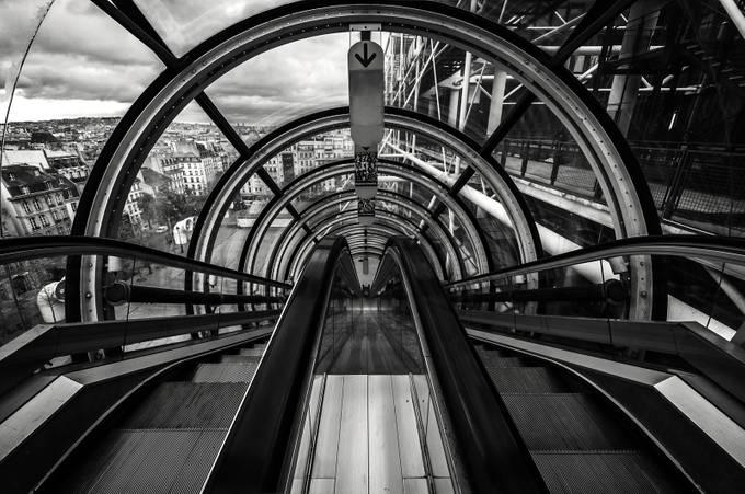 Pompidou B&W by ardilla - Shooting Tunnels Photo Contest