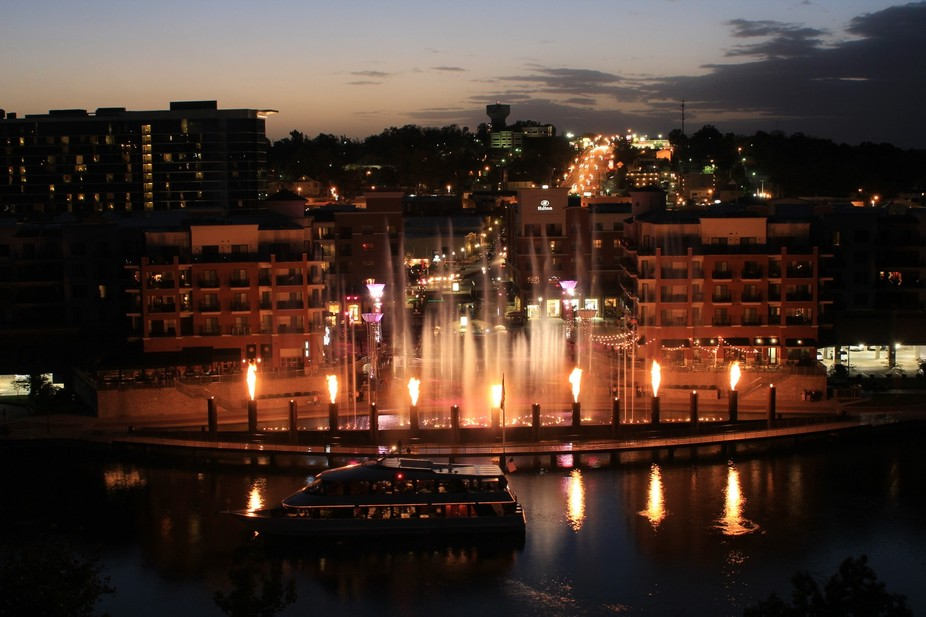 Long exposure shot of the Water/Fire fountain show in Branson, Missouri