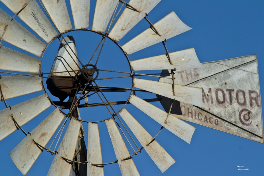 This old Chicago Areomotor Windmill still turns in the Central Texas wind.