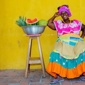 A Palenquera or fruit lady in Cartagena, Colombia
