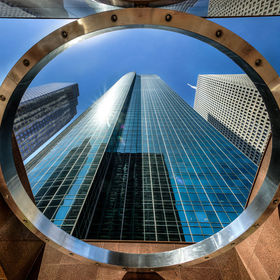 Looking up at the Wells Fargo Building I captured the ring at the entrance to the building. This is a handheld, 3 bracket HDR image, with a wide ...