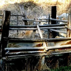 Rustic cattle chute and round pen in Montana.