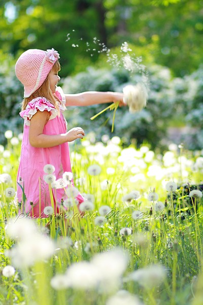 girl have fun with dandelions