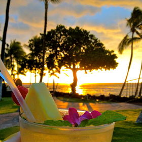 sunset and a romantic dinner on the Big Island of Hawaii.