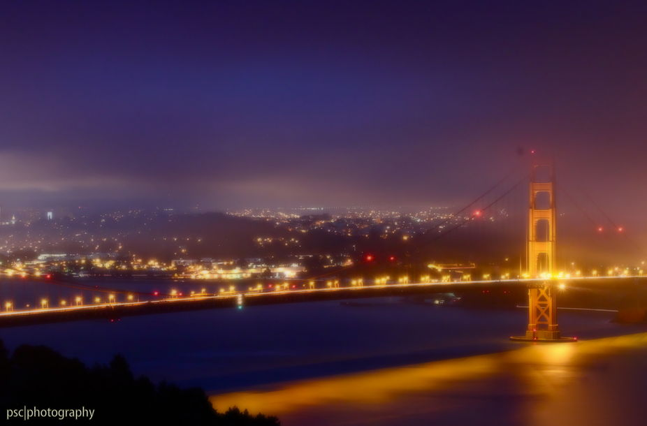 Foggy night at the Golden Gate Bridge
