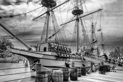 Ship at Jamestown BW