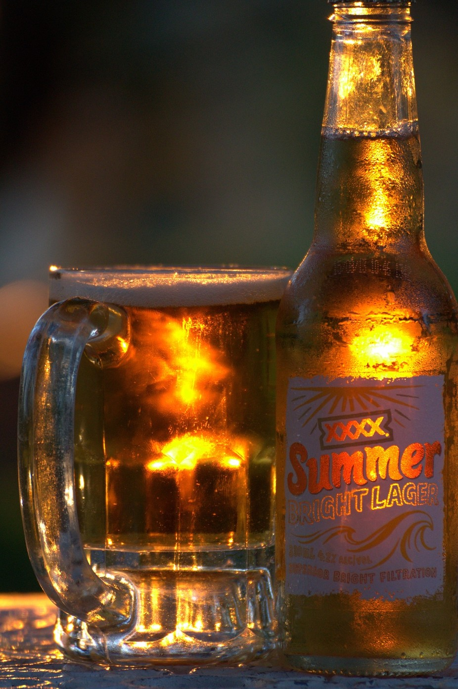 Beer glass at sunset