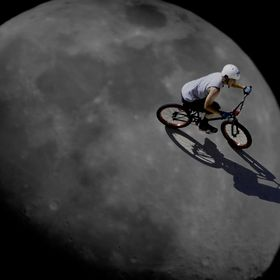 cyclist on the moon