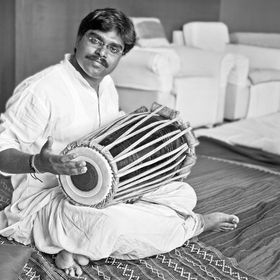 Hanumant Ghadge Tabla player and musician from Maharashtra India during an accompaniment at private party in Bombay during April 2012, model rele...