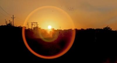 Lens flare on Okha Sunset