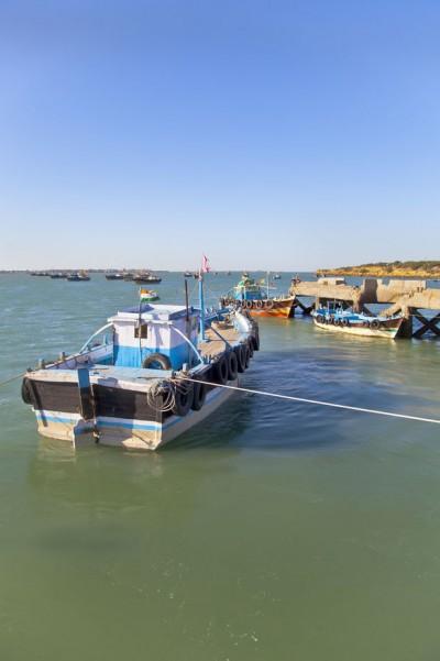 Boats at Dusk Bet Dwarka Harbor