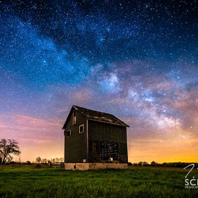 The Milky Way shines bright over a forgotten tobacco kiln.