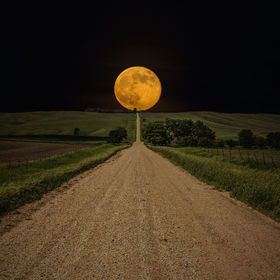 """Road To Nowhere- Supermoon"" ---- Supermoon rises over this road to nowhere in Eastern South Dakota. 