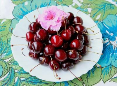 Cherries and flower