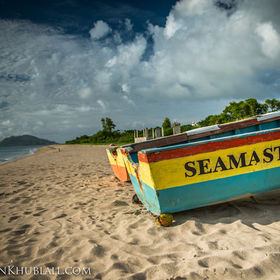 Fishing boat at rest on the beach. Nevis, West Indies. |   D800E + 24-70 2.8