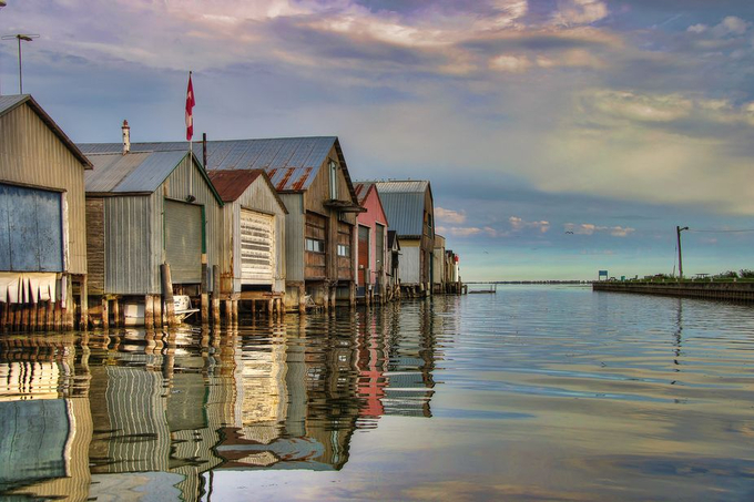 Port Rowan Boat Houses by LynnsPhoto - A World Of Blue Photo Contest
