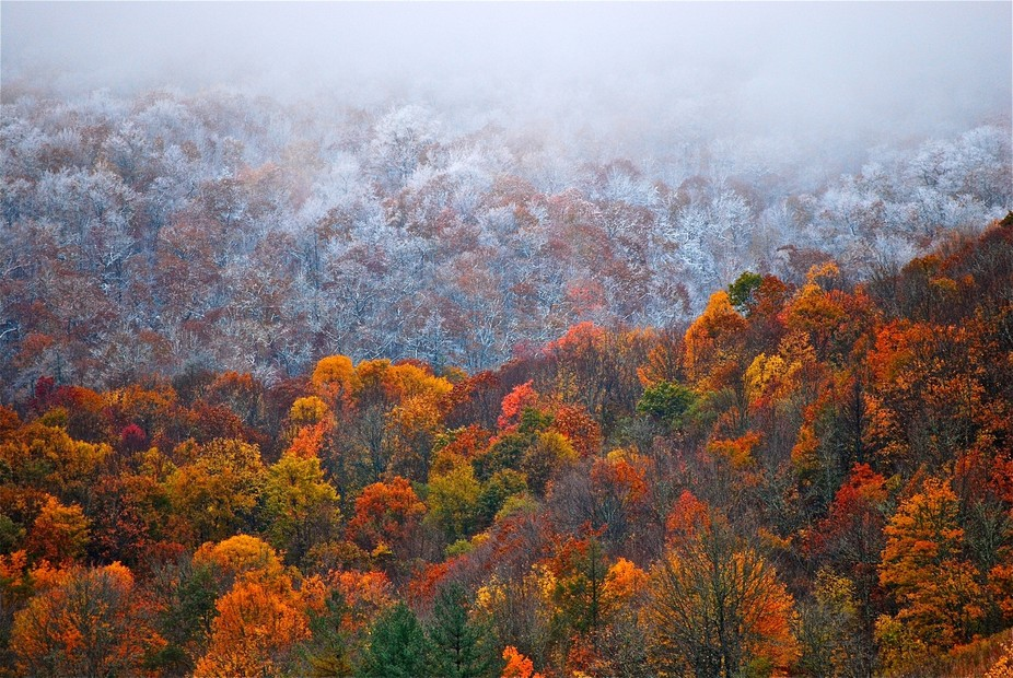 First snow in Cherokee, North Carolina