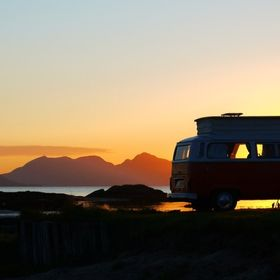 VW Camper in sunset West Coast Scotland , Arisaig ,