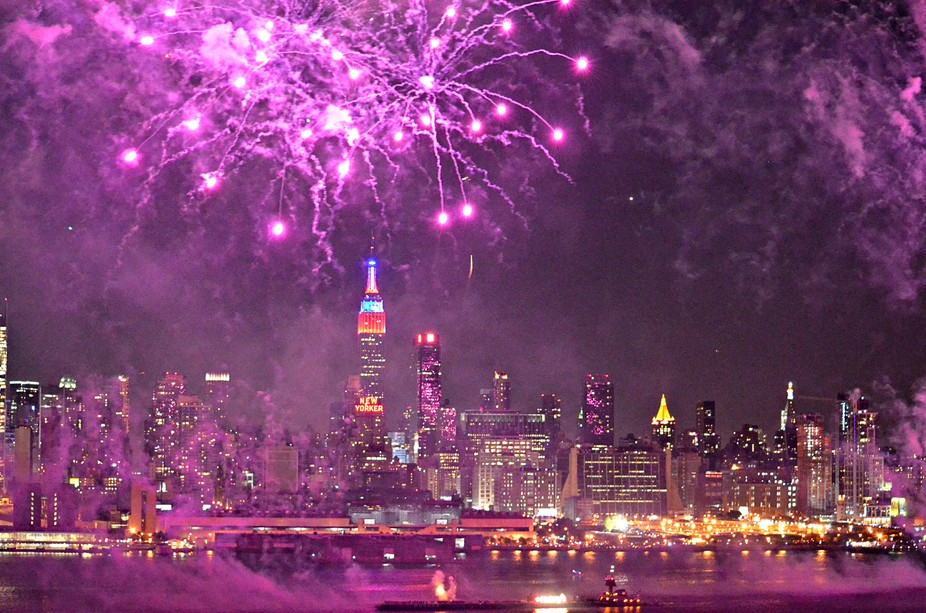 Purple fireworks on the Hudson River. View from Weehawken, New Jersey.