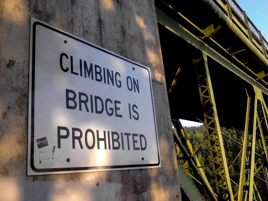 Posting on Deception Pass Bridge.