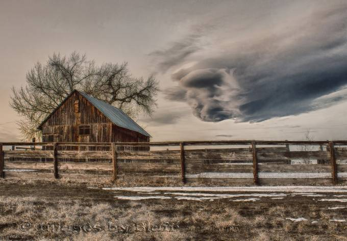 Abandoned farm building with ghost cloud by blairwacha - Fences Photo Contest