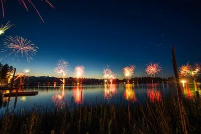 Fireworks over Pine Hollow reservoir