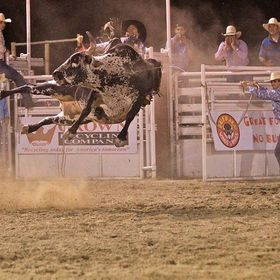 In all my years of photographing rodeos and bull riding I have never seen a bull flying sideways like this before.  Lot of dust also flying.  He ...