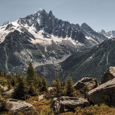 View from Chamonix Grande Balcony Sud towards Montenvers and the Mer de Glace