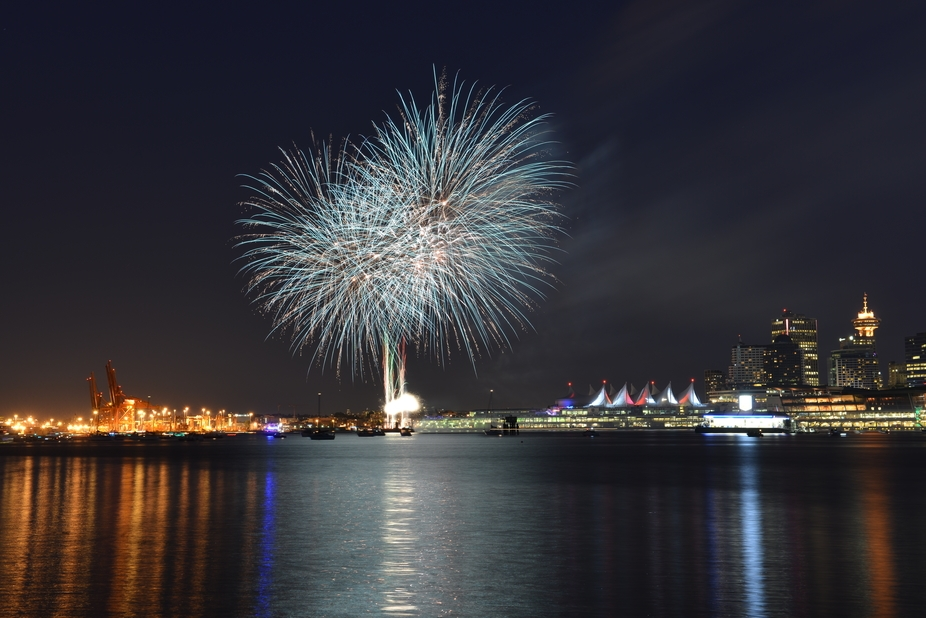 Vancouver Downtown on Canada Day Fireworks