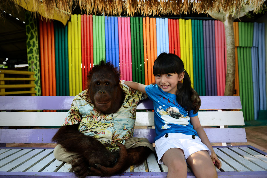 Audrey posing with Chimpanzee