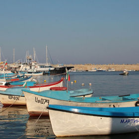 Boats in the port on Bulgarian Black sea coast
