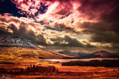 Cloudy day in Highlands of Scotland