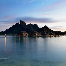 Shot in Bora Bora after sunset, long exposure from a tripod on the beach.