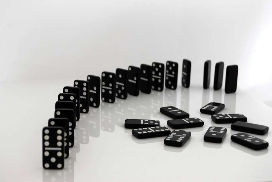 Domino game in total black and white.I love the simple and elegant way of the domino game!