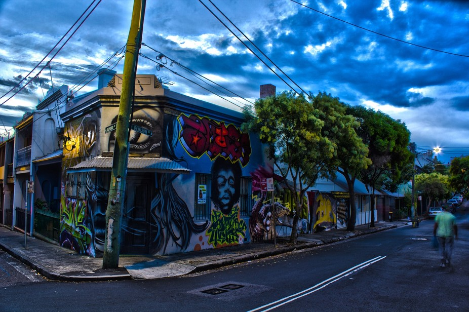 This is a shot I took in HDR in Newtown. The blurry man, walked into one of my shots and when I m...