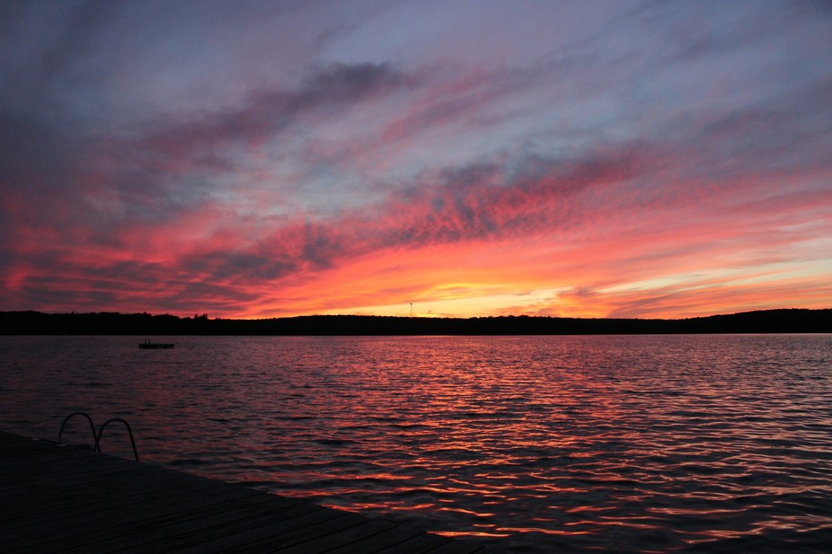 sunset over mountain lake in NY