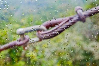 cable tie through raindrops