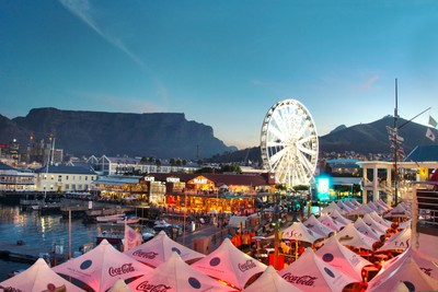 A busy Friday night at the V&A waterfront, Cape Town