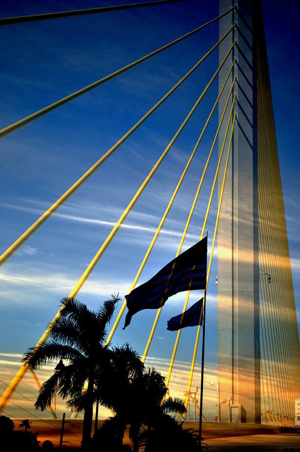 Crossing a bridge in Florida that takes you from a crowded city area to the beaches.