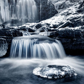 The stunning Scaleber Force falls near Settle in the Yorkshire Dales National Park in all of their winter splendor.