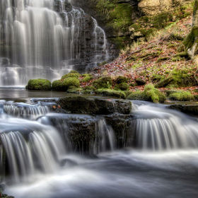The stunning Scaleber Force falls near Settle in the Yorkshire Dales National Park in all of their autumnal splendor.