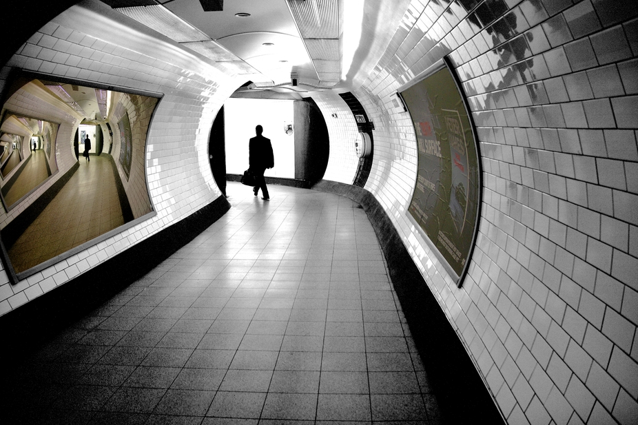 Surreal image , handheld taken in a London Tube tunnel. The main part of the image was converted ...