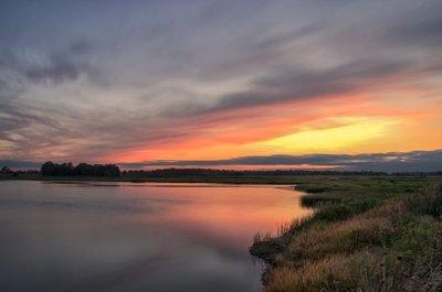 Sunset Over Woodland Marsh