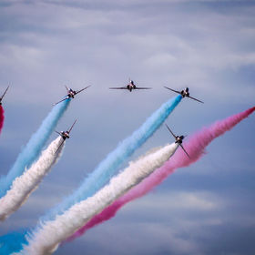 The Red Arrows as they were breaking formation