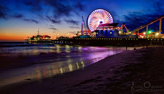 Santa Monica Pier by jasonosborne - City In The Night Photo Contest