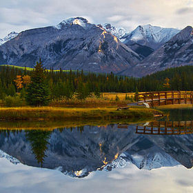 Banff National Park, Alberta, Canada.  Taken in the early morning to get the reflections on the calm water.