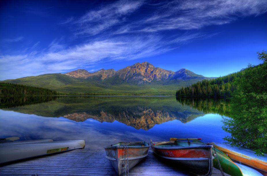 Pyramid lake at Jasper Alberta