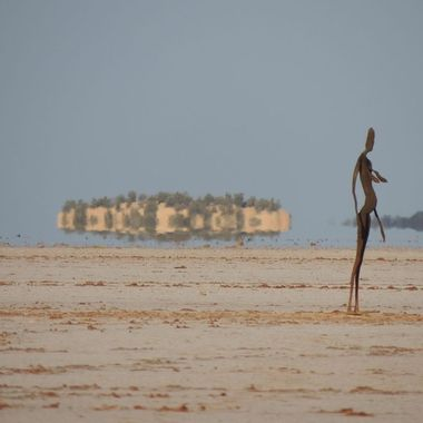 Sculptures depicting residents of nearby town of Menzies, by Antony Gormley
