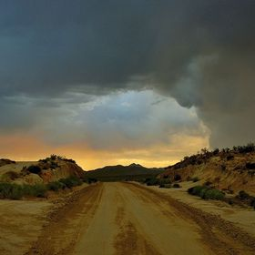 "Mojave desert with weather  ""Follow the path least traveled to a brighter future"""